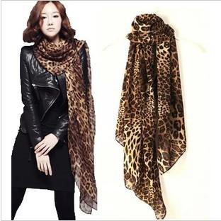 Winter Fashion Scarf Tiger Leopard Velvet Chiffon Long Silk Scarf Shawl Wholesale Beach Towels(China (Mainland))