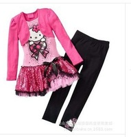Free shipping Spring autumn Children girls clothing Set,cartoon hello kitty coat+Skirt+pants 3pcs conjuntos kids clothes sets