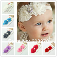 girls Toddlers Headband Pearl Double Shabby chiffon chic flower headband for baby Christmas gift  children accessories wholesale