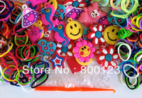 90 assorted PVC charms - 3000 rubber Bands-1 hook and 90 Clips - for Rainbow Loom bracelets - Girl Present-free shipping