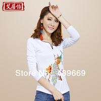 2013 autumn vintage peacock embroidery plus size cotton slim women's female long-sleeve t-shirt