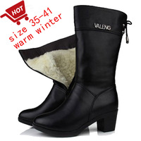 Free  Winter Boots Thick Heel wool Boots Genuine Leather Women'S Shoes High-Heeled Winter Cotton-Padded Shoes Martin Boots