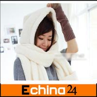 2013 Fashion  Fleece Muffler Plush Thickening  Scarf 3 in 1 Scarf Warm Hat Free Shipping