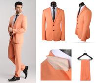 2014 New Designer Mens Colorful Dress Suits,XS-4XL Orange Formal Party Tuxedo,Top Wool Business Suit for Men(coat+pants)