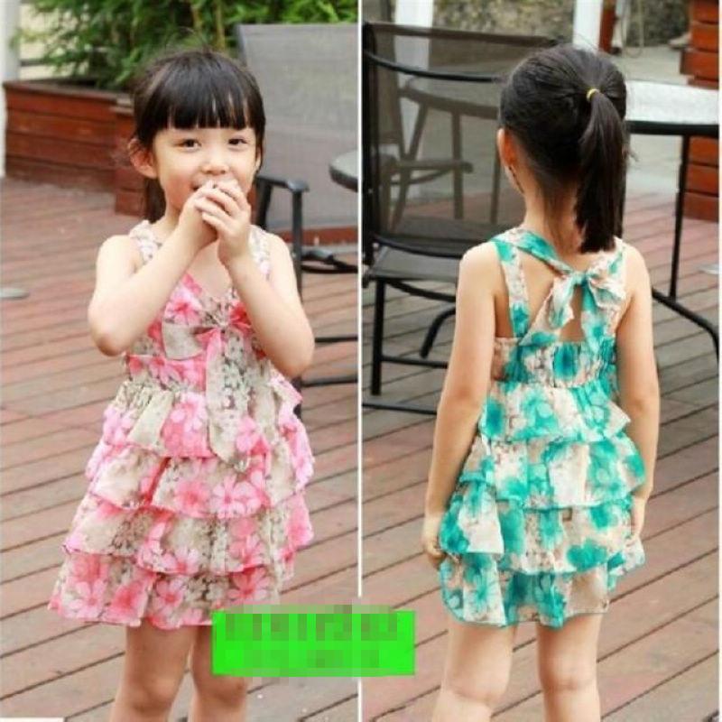 Retail Hot child vest tulle dress kids children summer clothing girls clothes kids tutu dress girl dress with flower(China (Mainland))