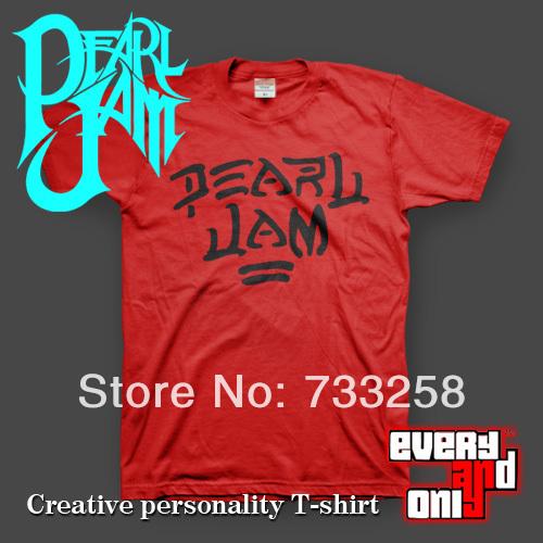 rock and punk individual free shipping 2014 new brand Pearl jam band logo short-sleeve T-shirt red grunge(China (Mainland))