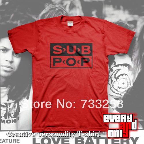 free shipping 2014 new brand Logo sub short-sleeve casual t-shirt red punk rock band t-shirt 4 personality rock punk round t(China (Mainland))