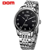 2013 new DOM men's Watch original brand male watch commercial strap mechanical stainless steel/genuine leather watch waterproof