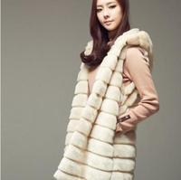 Autumn and winter slim medium-long with a hood faux rabbite fur coat women's overcoat fox fur coats outerwear plus size S - 4XL