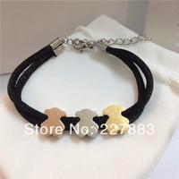 stocking 20pcs/lot Valentine Gift Titanium steel Love Bracelet Fashion Bracelet Little bear Bracelet Valentine Bracelet
