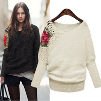Bat wing Sweater Women's Pull over Embroidery V neck Sweater 2013 New Brand High Quality woolen sweater SW2023