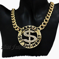 "Hotselling Hip Hop Gold Tone Fashion $ Dollar Money Sign "" Honeys Get the Money "" Necklace With Chunky Chain"