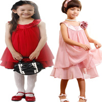 Hot 2013 New spot retail dimensional flower girl pleated skirt chiffon skirt children clothing free shipping
