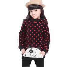 2014 new winter Children's clothing  kids sweatshirt baby Children hoodies girls polka dot Long sleeve outwear girl coat(China (Mainland))