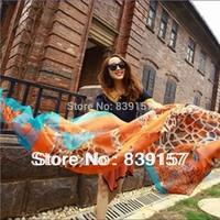 Min order is 10$ (Free shipping)!  2013 Fashion printed giraffe pattern super big Chiffon silk  scarf for women