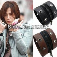 latest style korean star leather bracelet lovers punk zipper bracelet musical bracelet KL0041