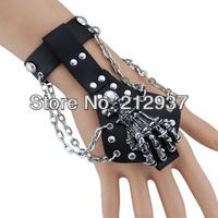 Cowhide men leather bracelet rock musical bracelet hand design leather bracelet in streets KL0042