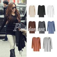 Fashion Womens Basic Solid Top Plain V-neck Long Sleeve T-shirts Free Size Free Shipping 8 Colors ZA0107