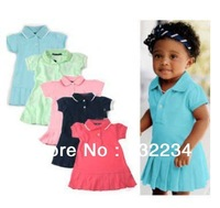 Free Shipping 2014 summe100% cotton baby  dresses children girls Brand dresses baby Pleated tennis dress