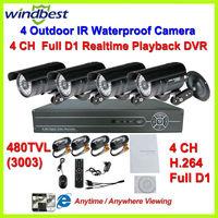 Home 36pcs IR LEDs Nightvision 480TVL Camera Surveillance Video System 4CH H.264 Full D1 DVR Kit Security DIY CCTV Camera System