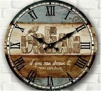 34cm vintage rustic large circular digital wood wall clock safe home wall decor bedroom kitchen wood crafts bird print