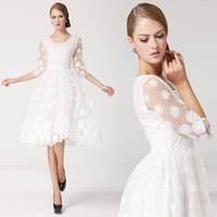Preppy Style Fashion Clothing 2014 One-Piece Dress Princess Dress Three Quarter Sleeves Slim Waist Dress Embroidered White Dress