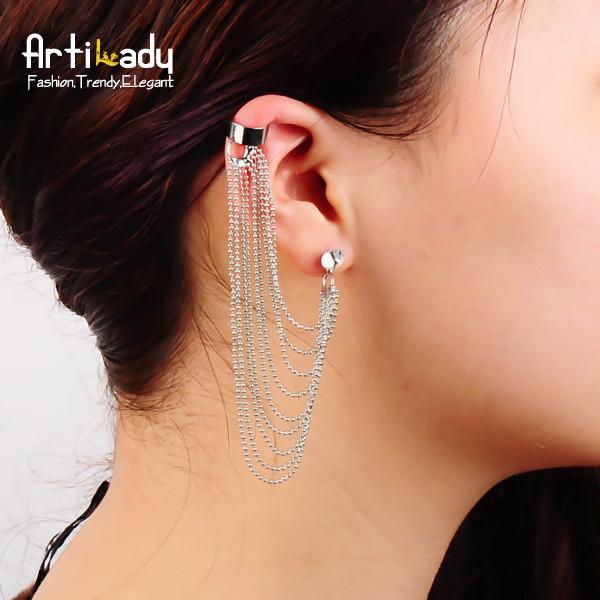 Artilady fashion cystal chain clip earrings silver plated women ear cuff earring jewelry christmas gift