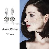 Latest design 1 pair  925 Sterling Silver Earrings 8mm AAA Zircon Drop Earrings Fashion jewelry  wholesale GNE0004-8