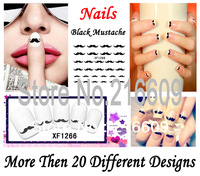 Hot 20Sets/Lot Can Mix 3D Black Mustache Nail Art Wrap Water Transfers Sticker Floral Decals Decoration 21 Design XF437-456+1266