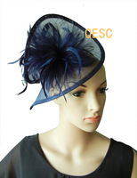 Navy blue Dress bridal Sinamay fascinator hat for Kentucky Derby,wedding,races,party,church