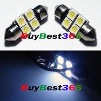 White LED Bulbs 28mm 4-SMD Festoon Dome Reading Map Light Lamp
