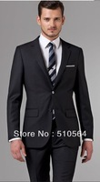 Free shipping Italian high quality worsted 100% pure Wool suit Men Business suit Two Buttons Essential Black Suit