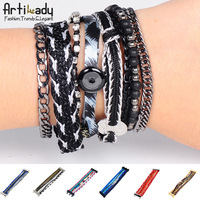 Artilady free shipping 2013 fashion wrap charm lether bracelet with Braided rope Men Women jewelry stacking bracelets