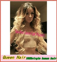 Stock!!Celebrity style loose wave!!Ombre Two Tone Front Lace Wig/Full lace wig #1bT#613 Brazilian Vrigin Human Hair Freeshipping