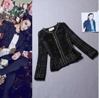 Free Shipping 2014 Fashion Long Sleeve Zipper Black Appliques Rose Short Jacket Women Outdoor