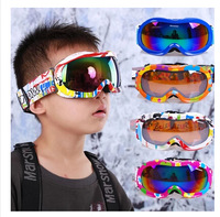 2015 New style Free shipping Children's version of spider double-layer anti-fog windproof mirror spherical lens kids ski goggles