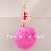 Free Shipping Creative Wedding Souvenirs Cute Furry Clover Tassel Keychain Casual Handbag Charms Accessories Lady Trinket Car