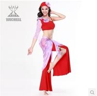 2014 New Single-sleeve Slim Belly Dance Costume ,4 Pieces Top&Headdress&Pants& Waist Towel Practice Clothes ,6 Colors TP 2057