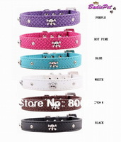 MOQ:20pcs!(6colors available)Free Shipping!New Comfortable Faux Croc PU Leather Crystal Skull Pet Collars,Dog Fashion Supplies