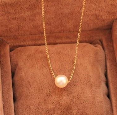 2014 Brand Design Fashion Vintage Elegant Charm Simple Generous Pearl Pendent Chain necklace Jewelry Wholesale Hot