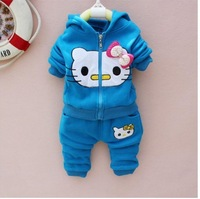 Free ship Hello kitty girl suit Thick flocking childen winter clothing kitty cat hooded coat+pants two pieces sets blue color