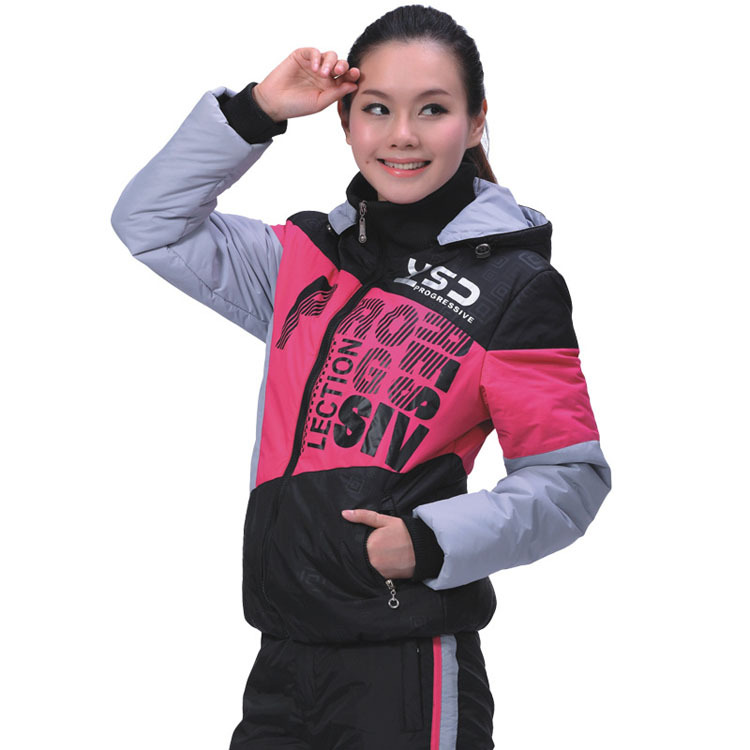 Woman Long Sleeve Outdoor Ski Warm Clothing Set Size M-2XL Patchwork Color Design Lady Windproof Winter Sports Suit(China (Mainland))
