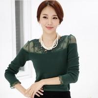 Женские блузки и Рубашки Pearl Lace Stand Collar Female Elegant Basic Shirt Long sleeve Slim Handmade Beading Blouse 2013 Fashion AAC042