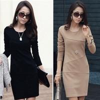 2015 Rushed Jersey Regular None New Autumn Winter Dresses Casual Plus Size Long Sleeve Slim Office Women Dress Vestidos NJ06