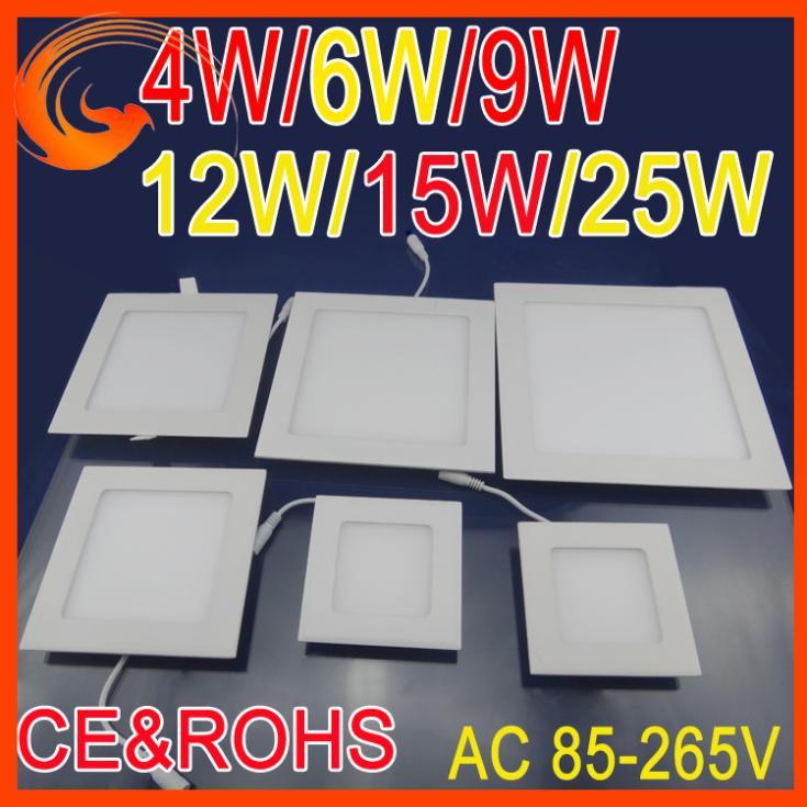 4w 3w 6w 9w 12w 15w 25w ac85~265v bianco freddo/bianco caldo ha portato soffitto a led da incasso luci pannello quadrato di alta qualità smd3528 lampadina