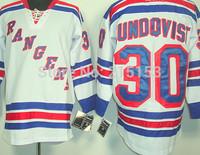 2014 Cheap Ice Hockey Jerseys NY Rangers #30 Henrik Lundqvist dark blue and White Color NHL Jersey Stitched