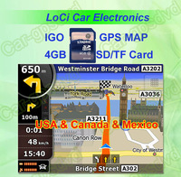 Free shipping! The latest 4GB SD/TF memory card with car IGO Primo GPS Navigator map for USA,Canada,Mexico