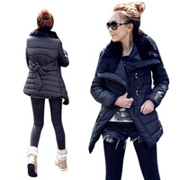 2013 New han edition rabbit fur coat lapel cotton-padded clothes dress style has a long winter jacket free shipping