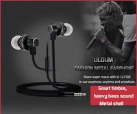 High Quality Stereo Bass Headset In Ear Metal Earphones Headphones with Mic 3.5mm MP3 MP4 MP5 phone earphone