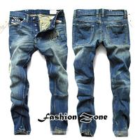 Fashion brand Distrressed men jeans autumn -summer men's dark blue jeans plus size 42 for fat person on sale